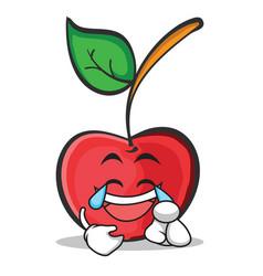 joy face cherry character cartoon style vector image