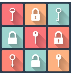 Key and padlock flat icons set vector