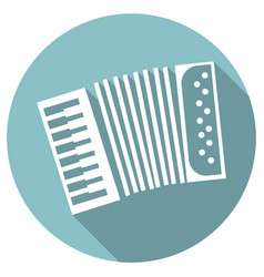 Long shadow flat icon of accordeon vector