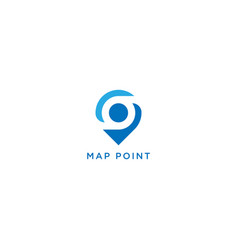 Map point and location logo design vector
