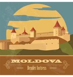 Moldova landmarks retro styled image vector