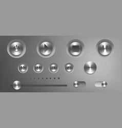 music control panel with steel buttons and knobs vector image