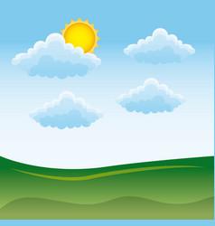 natural meadow cloud sun landscape vector image
