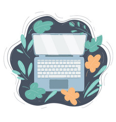 open modern laptop top vector image