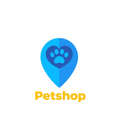 paw and heart in mark pet shop logo vector image
