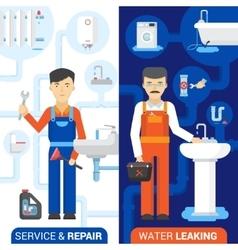 Plumbing Service 2 Flat Vertical Banners vector image vector image