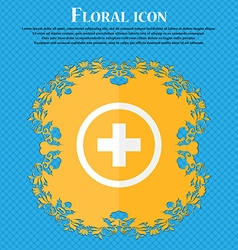 Plus positive zoom icon sign floral flat design on vector