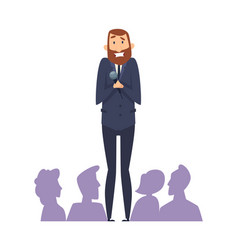 Public speaking fear man with microphone in front vector