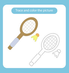 racket and shuttlecock toy with simple shapes vector image