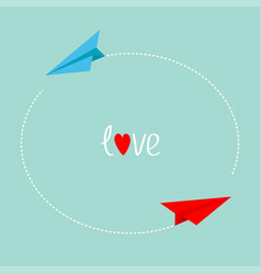 Red and blue origami paper plane round dash line vector