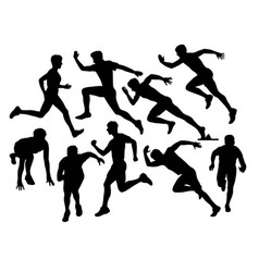 Running sport silhouettes vector