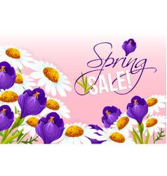 Sale poster springtime floral design vector