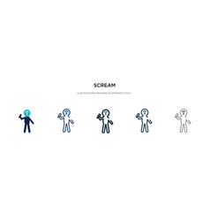 Scream icon in different style two colored and vector