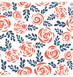 Seamless pattern abstract roses red blue vector