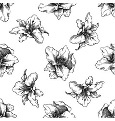 seamless pattern with black and white lily vector image