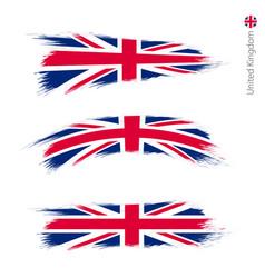 Set 3 grunge textured flag united kingdom vector