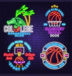Set basketball club neon design or emblem vector