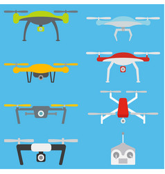 Set of aerial drones vector