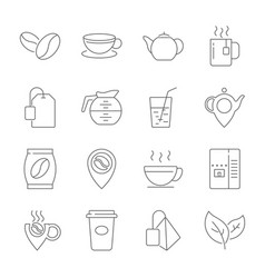 set of coffee and tea line icons contains suc vector image
