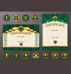 set of elegant templates of certificate diploma vector image