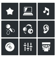 Set of perfomance icons glory equipment vector