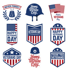 set of veterans day emblems isolated on white vector image