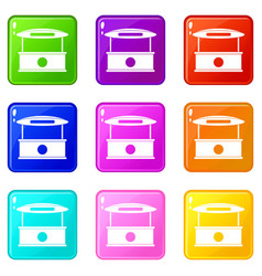 shopping counter with tent icons 9 set vector image