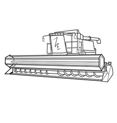 sketch harvester coloring book isolated object on vector image