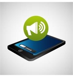 Smartphone blue screen unlock megaphone speaker vector