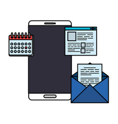 Smartphone with calendar and email vector