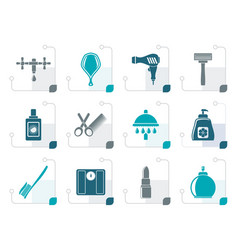 Stylized personal care and cosmetics icons vector