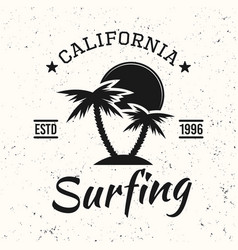 surfing black vintage emblem with palms and sunset vector image