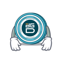 Tired digixdao coin mascot cartoon vector