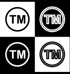 Trade mark sign black and white icons and vector