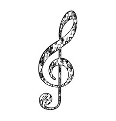 treble clef in monochrome silhouette formed by vector image