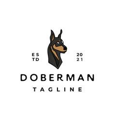 vintage doberman pinscher logo design vector image