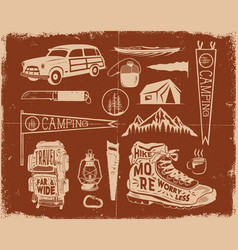 Vintage hand drawn adventure symbols hiking vector