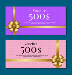 Voucher on 500 set of posters gold bow ribbons vector
