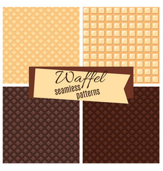 waffel seamless patterns set vector image