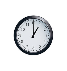 Wall clock set at 1 o clock vector