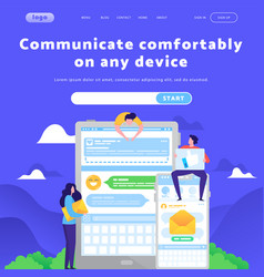 Web site design template online messaging vector