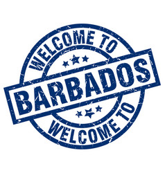 welcome to barbados blue stamp vector image