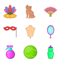Womanish icons set cartoon style vector