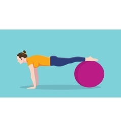 women push up use exercise ball graphic vector image
