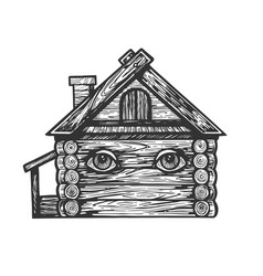 wooden house with eyes engraving vector image