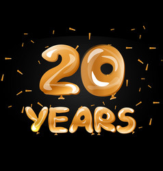 20 years golden anniversary celebration vector image vector image