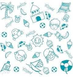 Beach doodle art for kids vector image vector image