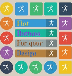 Discus thrower icon sign Set of twenty colored vector image vector image