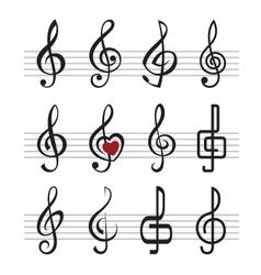 treble clefs vector image vector image