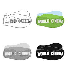World cinema sign icon in cartoon style isolated vector